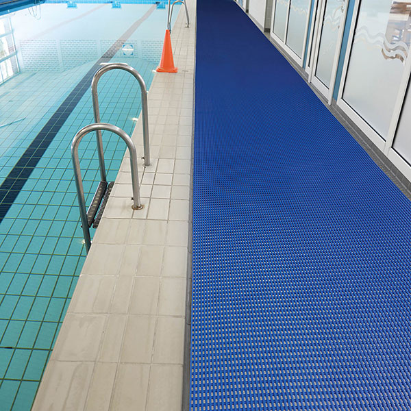 Waterproof floor mat pool safety mat commercial mats for Pool area flooring