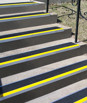 9 Quot Metal Stair Treads With Colored Abrasive Strips