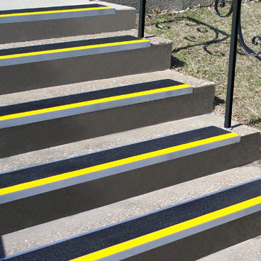 Roppe Metal Stair Treads with Colored Safety Strips